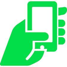 grön hand med mobil i handen